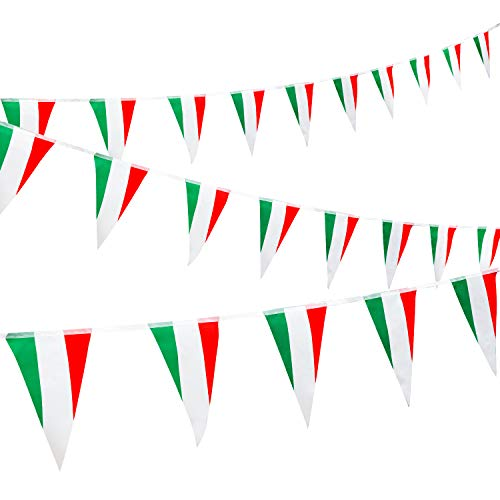 Whaline Italy Pennant Bunting Banner 30Pcs Triangle Flag String Banner 29.5FT Italy Full Flag Patriotic Hanging Garland for Parades Sports Event Football World Cup International Festival Party Decor