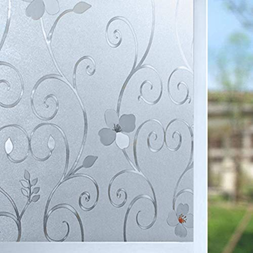 Niviy 3D Static Cling Window Film Decorative Iron Flower Window Covering Film for Home, Office 17.7inch x 78.7 inch, 1 Roll