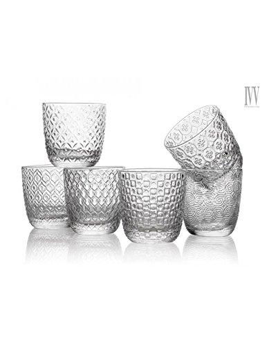 Lot de 6 verres à eau style Sixties, fantaisie assortie, 31 cl, transparent