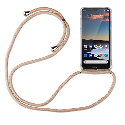 betterfon | Handykette kompatibel mit Nokia 5.3 Smartphone Necklace Hülle mit Band - Schnur mit Hülle zum umhängen in Nokia 5.3 Beige/Braun
