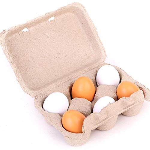 courti Juego De 6 Huevos De Simulación De Madera para Niños, Huevos De Educación DIY De Pascua, Decoración De Temporada De Juguete Juego De Rompecabezas Temprano para Niños Pequeños