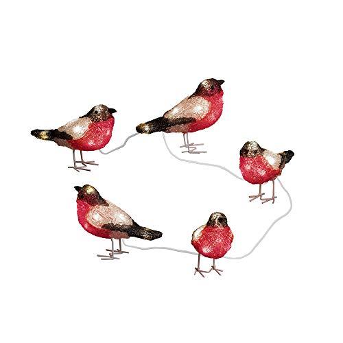 Konstsmide 6144-203 LED Acrylfigur 'Vögel' / 5er- Set / für Außen (IP44) / 24V Außentrafo / 40 kalt weiße Dioden / transparentes Kabel