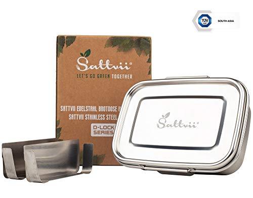 Sattvii® Edelstahl Eco Lunchbox & Brotdose | D-Lock | auslaufsicher | 1260 ml | TÜV geprüft | hochwertig | Metall dichte Bento Box mit 2 Trennwänden | Kinder | 3 fächern | Plastikfrei & Nachhaltig