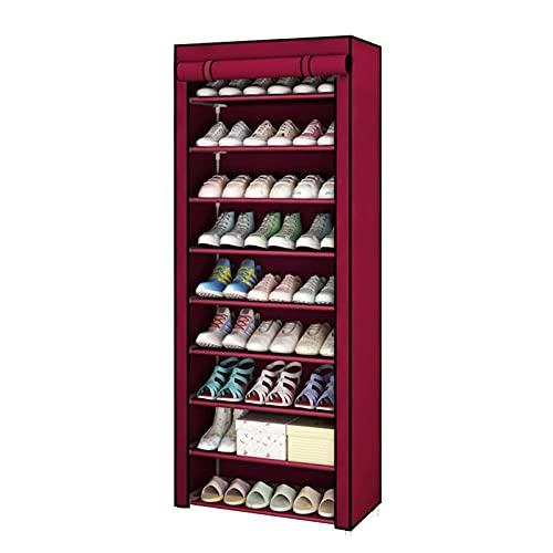Amusingtao Estante de zapatos de 9 niveles, organizador grande de almacenamiento de zapatos con cubierta a prueba de polvo, tela impermeable, para ahorrar espacio (estante de zapatos de 9 niveles)