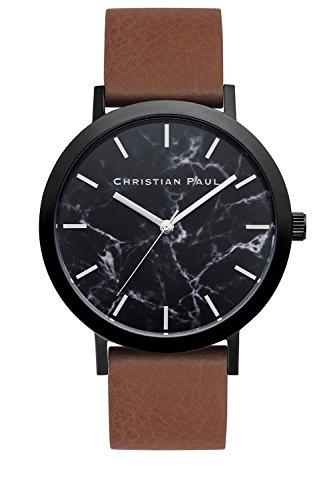 Christian Paul MR-02Hombres del Acero Inoxidable Banda De Cuero Marrón Negro Dial Reloj