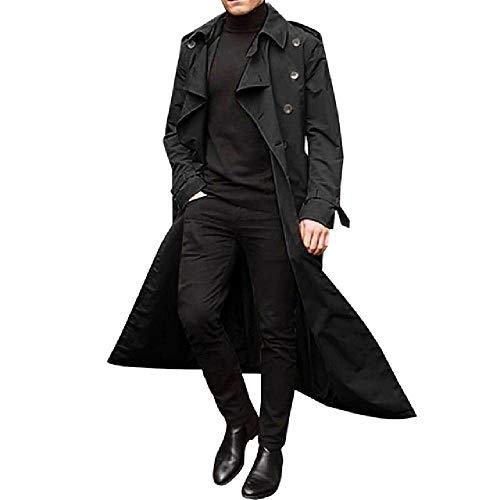 Hombres Gabardina Diseño Delgado Doble Pecho Delgado Cortavientos Masculino Primavera Largo Negro Abrigo Outwear Otoño
