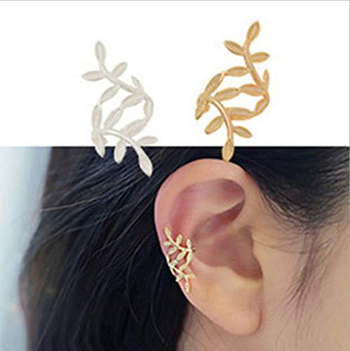 SMXGF 1PC Sliver Gouden Kleur bladvorm Punk Ear Cuff Oorbellen Nee Piercings Earcuffs Clip oorbellen for vrouwen Clips partij sieraden (Color : 1 PC SILIVER)