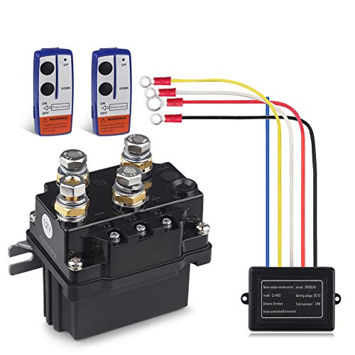 WATERWICH 12V 500A Winch Solenoid Relay Contactor+2pcs Wireless Winch Remote Control Kit with 6 Protecting Caps Universal for Truck Jeep ATV SUV 5500-12000lbs Winch