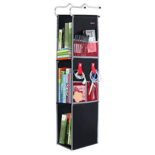 Hanging Locker Organizer 3 Shelf Ladder, MOICO Adjustable Locker Shelf from 3 to 2 Shelves Durable Polyester Canvas for School, Gym, Work, Storage Black with Red