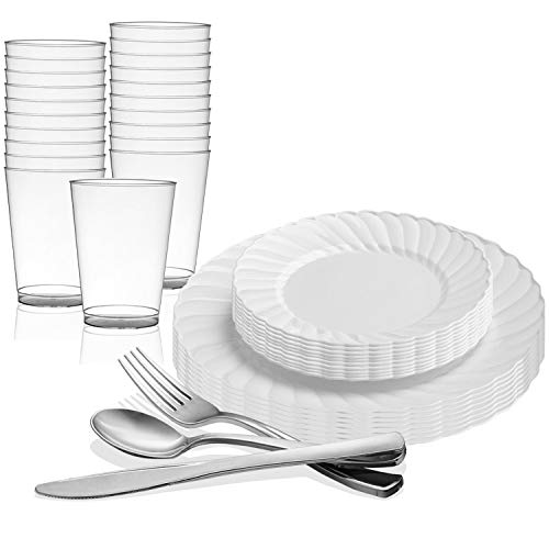 Kaya Collection - White Disposable Plastic Dinnerware Party Package - 72 Person Package - Includes Dinner Plates, Salad/Dessert Plates, Silver Cutlery and Tumblers