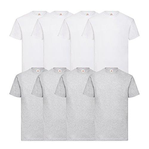Fruit of the Loom 8 T Shirts Valueweight T Rundhals M L XL XXL 3XL 4XL 5XL Übergröße Diverse Farbsets (XL, 4Weiß/4Grau)