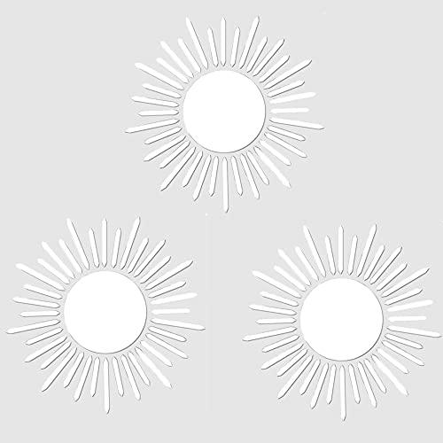 3Pcs Espejos Redondos Pared,Espejos de Pared,Adhesivo de Pared Espejo,Espejo Autoadhesivo,Espejo En Forma de Flor,Espejo de Pared Estéreo 3D,Espejos Decorativos Plateados,Espejo de Pared Vintage.