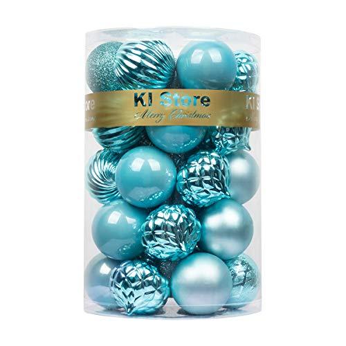 "KI Store 34ct Christmas Ball Ornaments Shatterproof Christmas Decorations Tree Balls for Holiday Wedding Party Decoration, Tree Ornaments Hooks Included 2.36"" (60mm Teal)"