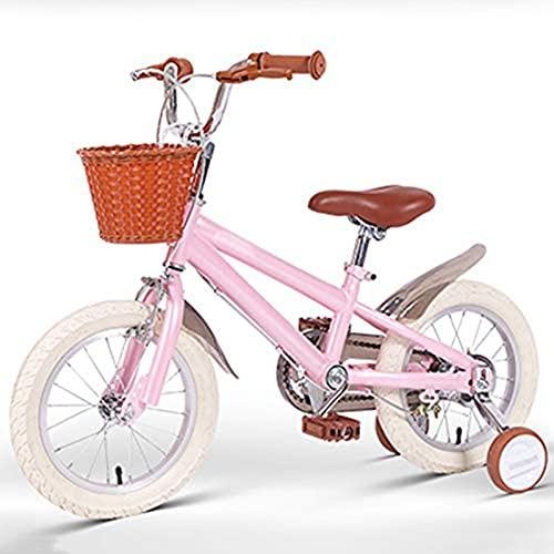 Bicicletta Bici per Bambini 14 16 18 Pollici con La Ruota di Allenamento Ragazzo Piccola Ragazza Principessa Stile retrò Car Basket Regolabile Esercizio di Equilibrio(Size:16in,Color:Rosa)