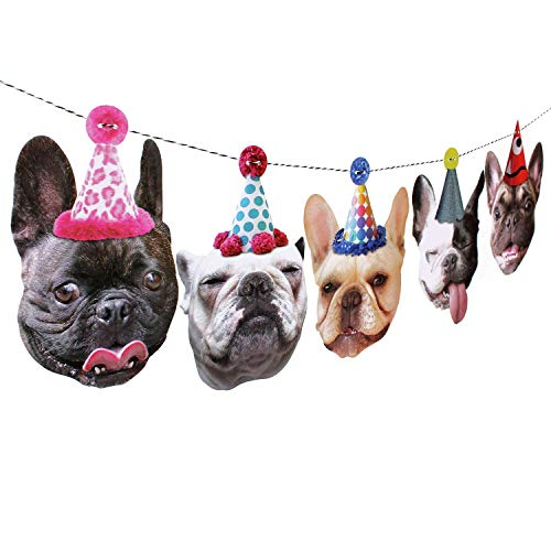 French Bulldog Garland, frenchie dog birthday party decoration banner, Made in USA, Best Quality