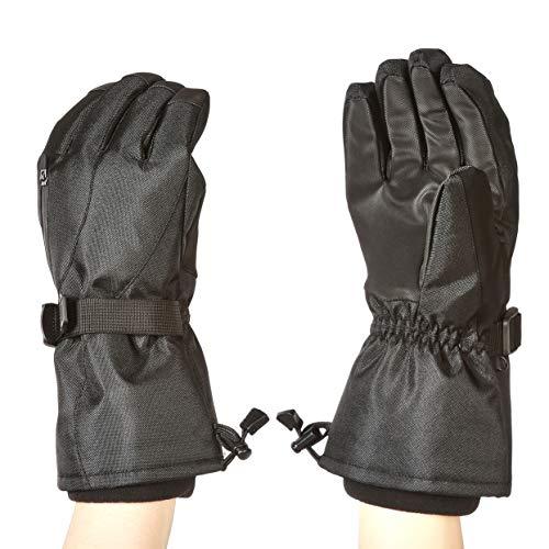Amazon Basics - Guantes de esquí impermeables, negros, talla S