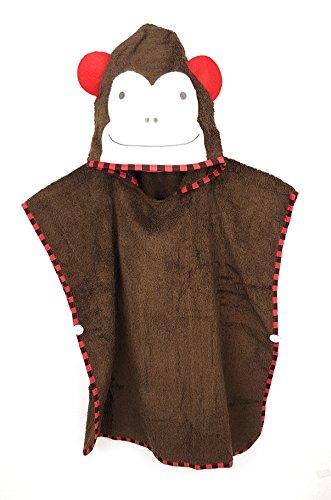 Schlupfi Badeponcho Kinder: Kinderhandtuch mit Kapuze - Handtuch Poncho mit Tiermotiv, Kapuzenhandtuch für Jungen und Mädchen, Affe in Braun, 60x120cm