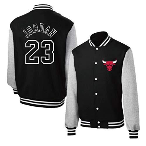 Michael Jordan Basketball Jerseyjacke, Männer Chicago Bulls 23# Red Basketball Trikots Baseball-Hemd, Langarm Retro Basketball Sweatshirt (S-3XL) Black-XXL
