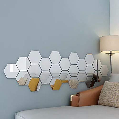 CHENYI 24 pezzi adesivi esagonali per specchio acrilico rimovibile decorazione fai da te casa camera camera da letto bagno