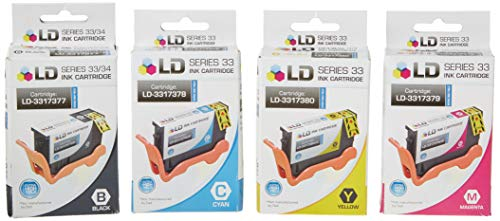 LD Compatible Dell V525W / V725W Set of 4 Inkjet Cartridges: 1 Black 331-7377, 1 Cyan 331-7378, 1 Magenta 331-7379 and 1 Yellow 331-7380