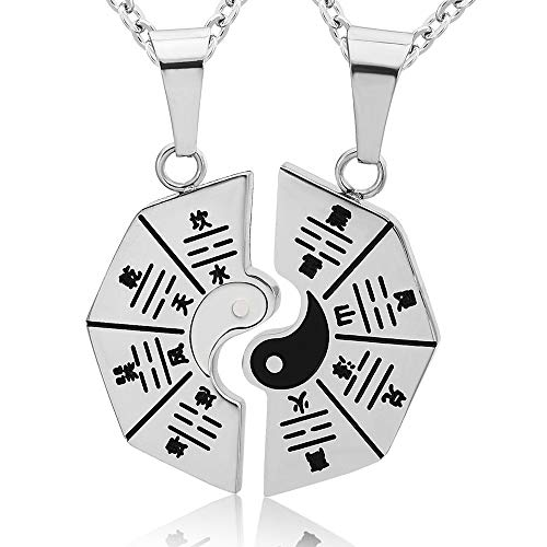 Yin Yang Couple Necklace Stainless Steel Matching Gossip Tai Chi Puzzle Piece Vintage Anime Goth Yin Yang Necklace For Couples Pendant Jewelry For Him And Her Bf Gf (Black White)
