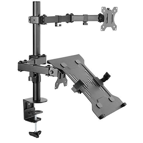 RICOO TS7111, PC Monitor-Ständer Tisch-Halterung für 2 Flach-Bildschirme 13-32 Zoll oder 1 Bildschirm-Halterung max 7-kg & VESA-Norm 100x100 & Laptop