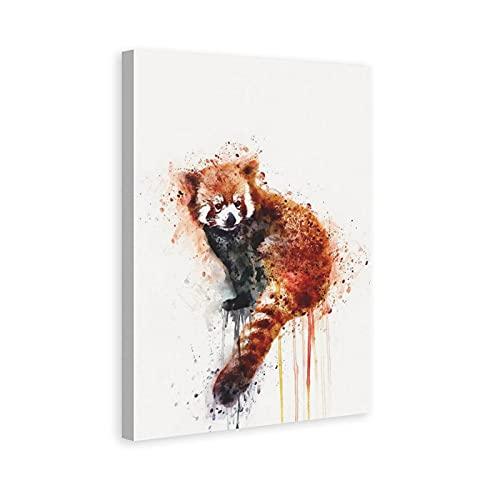 FENGLANG Pintura de acuarela lienzo arte de pared para sala de estar dormitorio cartel impresiones Panda rojo decoración de pared regalo 40 x 60 cm