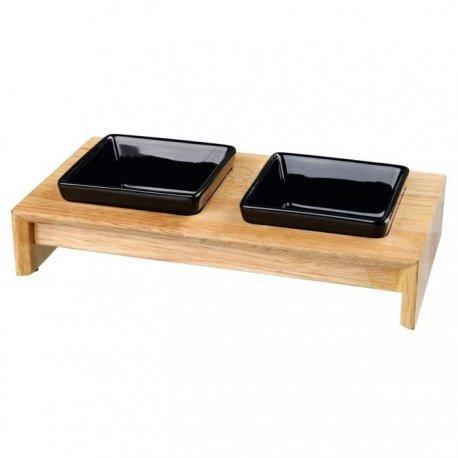 Trixie Napf-Set Keramik/Holz 2 x 0,2 l