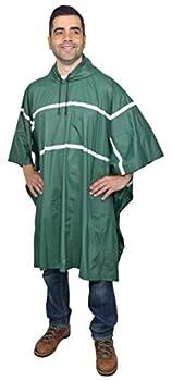 Galeton 12335-GR 12335 Repel Rainwear0.20 mm PVC Rain Poncho with Reflective Stripes One Size Green