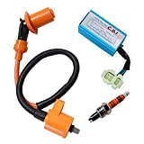 GY6 CDI 6 Pin Ignition Coil for High Performance Racing 50cc 125cc 150cc Moped Scooter ATV Go Kart with 3 Electrode Spark Plug