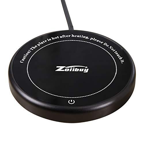 Zoiibuy Tassenwärmer, Kaffeewärmer Multifunktionale Becher-Wärmehaltungsplatte Resistentes Glas mit Elektrischer Heizplatte 220V 18W für Büro, Hausgebrauch, PC, Notebook, (1,4 Mio Kabel)