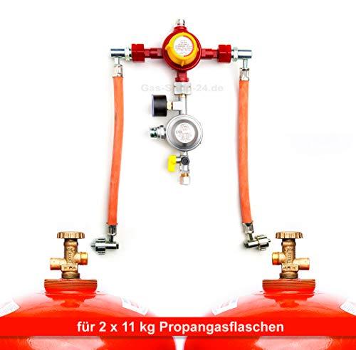 Automatische 50 mbar Zweiflaschenanlage für 11 kg Propangasflaschen/Gasflaschen (Flaschenanlage, Druckminderer, Propangas Flüssiggas Anlage, Kleinflaschenanlage) MADE IN GERMANY