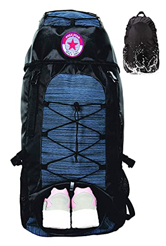 Polestar Flyer 55 Liters Polyester Navy Rucksack For Trekking/Travel Backpack With Rain Cover And Shoe Compartment