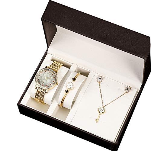 IMFFSE Reloj de Cuarzo para Mujer con Collar de Pulsera, 5 Sets, Reloj Casual de Lujo, Reloj de Estilo clásico para Mujeres, Regalo de día de San Valentín,Oro