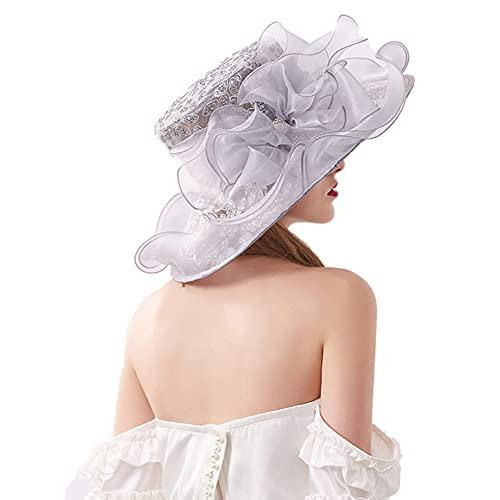 Cappello a Donna in Organza,Church Kentucky Derby Fascinator Cappello da Sposa,Cappello da Sole alla Moda a Tesa Larga,Pieghevole Cappello da Spiaggia Protezione Solare con Decorazione Floreale