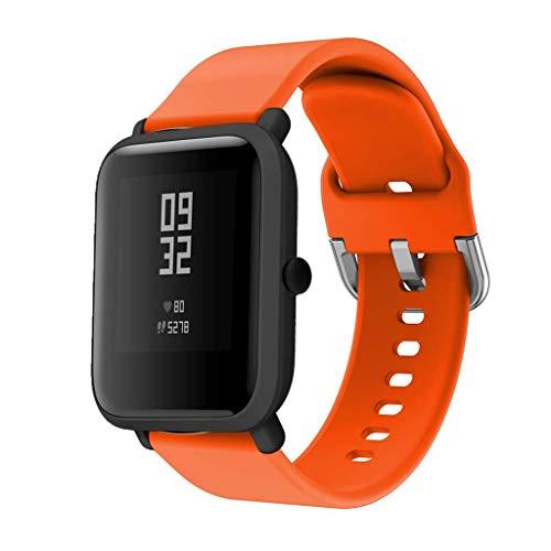 CNBOY Correas de Reloj de Repuesto de Silicona para Xiaomi Huami Amazfit Bip Youth Watch (Naranja, 20mm)