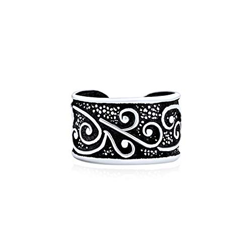 Unisex Boho Celtic Bali Tribal Style Swirl Vine Wide Ear Cuff Earring Helix 1 Piece Non Pierced Cartilage Black Oxidized 925 Sterling Silver