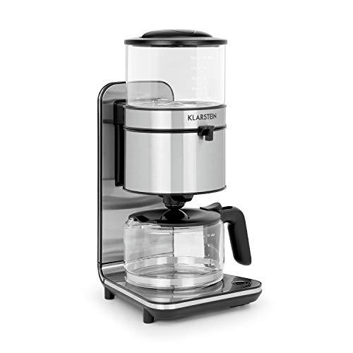 Klarstein Soulmate Kaffeemaschine - Filter-Kaffeemaschine, 1800 Watt, 1,25 Liter, 4 bis 10 Tassen, Schwallbrühverfahren, Glas, Edelstahl, Silber