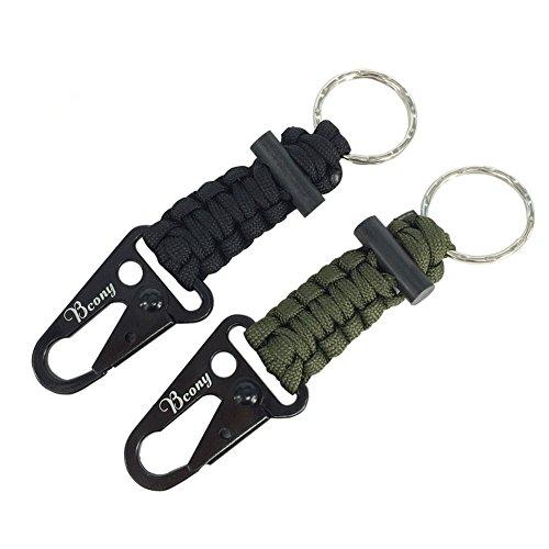 Bcony 2 piezas Llavero de Supervivencia Paracord con Mosquetón / inic