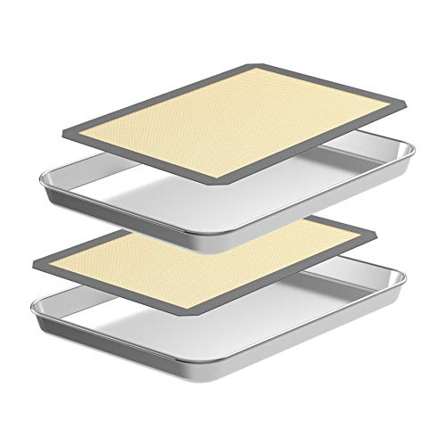 CEKEE Quarter Baking Sheet with Silicone Mat Set,4PCS (2 Sheets + 2 Mats),Nonstick Stainless Steel Cookie Sheet Baking Pan for Commercial or Home Use,Durable, Oven-Safe (9 Inch)