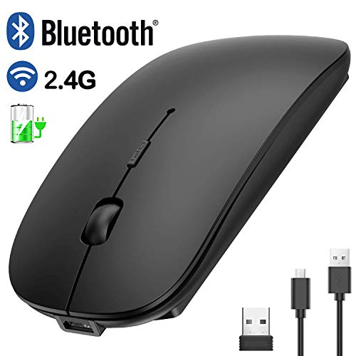 BluetoothWireless Mouse, 2.4GHz Rechargeable Dual-Mode Ultra-Thin Silent Mouse, 3 Adjustable DPI, for PC Desktop Laptop, Mac, Computer