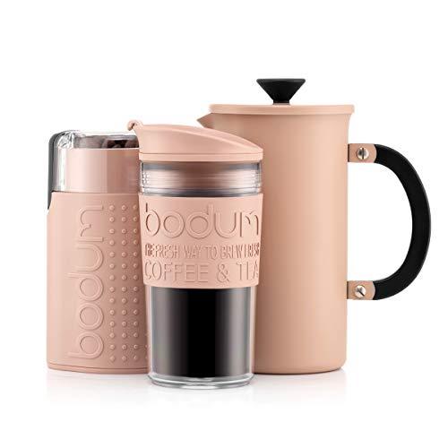 BODUM-KAFFEESET – Cafetière-Kaffeebereiter (1 Liter/8 Tassen) aus Edelstahl, doppelwandiger Reisebecher und elektrische Kaffeemühle - Nude