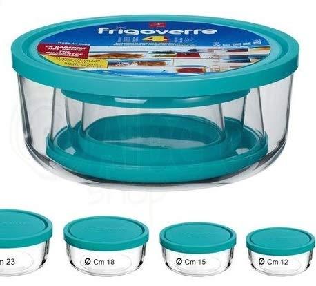 Set om 4 Bormiolli Frigorverre glas förvaringsburkar mikrovågsugnar och frysskåp lämpliga runda