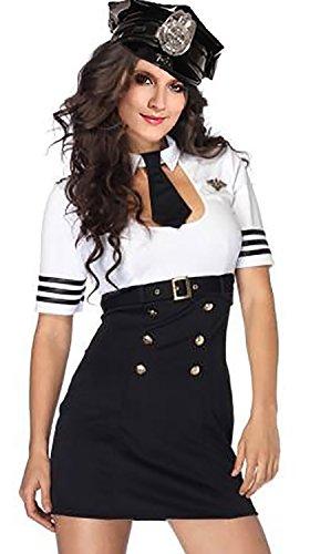 R-Dessous Hochwertiges Damen Polizei Polizistin Cop Kostüm Uniform für Mottoparty Halloween Karneval Fasching, Schwarz / Weiss, Herstellergroesse S/M (34-36-38)