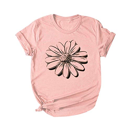 T-Shirt Damen Sommer Oberteile Gänseblümchen Schmetterlingsdruck Kurzarm Rundhals Tee Tunika Loose Basic Shirts Pullover Sweatshirt Frauen Hemd Bluse Fitness Sport Tops