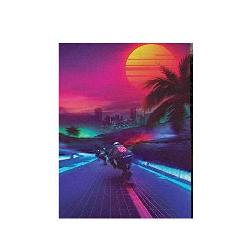 Gigoo Synthwave Midnight Outrun Canvas HD Sun Prints Posters Pintura Sala de Estar Arte de la Pared Cuadro Modular Decoración para el hogar 50x70cm sin Marco