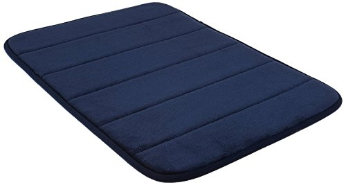 Navy Blue Memory Foam Bath Mat-Incredibly Soft and Absorbent Rug, Cozy Velvet Non-Slip Mats Use for Kitchen or Bathroom (17 Inch x 24 Inch, Navy)