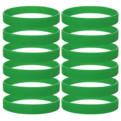Gogo 12 Piezas de Pulseras de Goma para Niño, Pulseras de Silicona, Accesorios de Fiesta, Brazalete Elastica de Multicolor - Pasto Verde