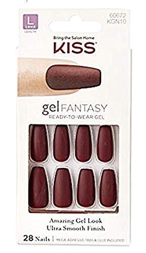 Kiss Coffin Shaped Long Length Gel Fantasy Matte Burgundy Nails # 60672 w/Mega-Adhesive Tabs & Glue