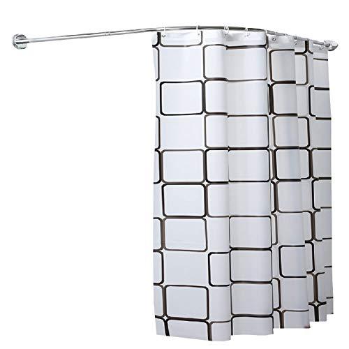 DBXOKK Duschvorhangstange, L-Form Duschvorhangstange aus Edelstahl Ausziehbare für Dusche & Badewanne Ohne Bohren Einfacher Montage Silber(60-90×80-130cm)